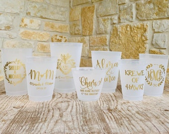 Personalized Cups, Shatterproof, Monogrammed, Custom, Frosted, Frost Flex, Cocktail Cups, Wine Cups, Party Cup, Wedding Cups, Shower Cups