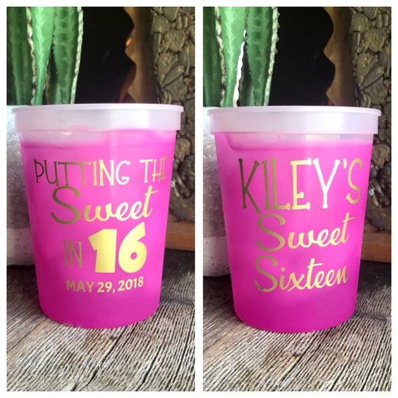 sweet 16 color changing cups sweet sixteen personalized etsy