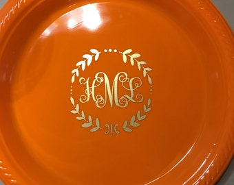 Personalized Dinner Plates 10.25  Monogrammed Custom Holiday Thanksgiving Friendsgiving & Interlocking Monogram Personalized Plates 7 Cake