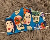 Face Mask, Sugar Skull, Frida Kahlo, Gotas De Amor, Alexander Henry, Floral, Day of the Dead, Dia de los Muertos, PPE Reusable Double Layer