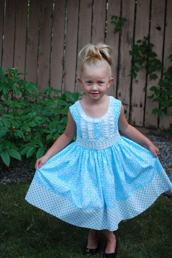 Girls Blue Flower Print Dress, Party Dress, Girls Size 6 Blue Polka Dot Outfit, Formal Summer Dress.