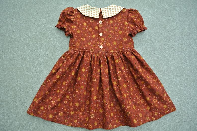 Size 3 Thanksgiving Outfit Cotton Dress. Girls Brown Floral Print Fall Winter Dress Sleeve Dress