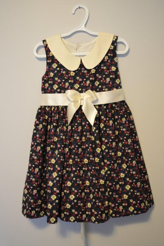 Girls Black Floral Print Cotton Summer Dress, Size 6 Special Occasion Dress, Peter Pan Collar, Sunday Church Dress.