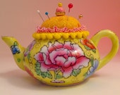 Pincushion. Porcelain Yellow Teapot Floral China Peony Rose Anemone Flowers 5 quot W by 3 quot H, 5 oz net, 3495 Pin Cushion