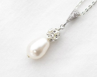 Bridal Necklace, Pearl Bridal Necklace, Wedding Pearl Drop Necklace, Ivory,White Pearl, Swarovski, Pearl Wedding Necklace, for Bride