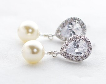 Pearl Drop Earrings, Pearl Bridal Earrings, Bridal Earrings, Pearl Wedding Earrings, Swarovski Earrings, Ivory Pearl Dangle Earrings