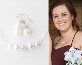 Necklace and Earring set, Pearl Necklace and Earrings Set, Pearl Earrings and Necklace, Pearl Necklace Earrings, Pearl Earrings Necklace Set