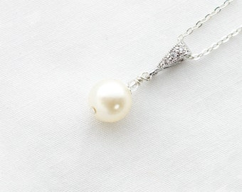 Bridal Pearl Necklace, Pearl Necklace,Small,Pearl Drop Necklace, Ivory, Pearl Pendant Necklace,Silver,Wedding Necklace for Bride