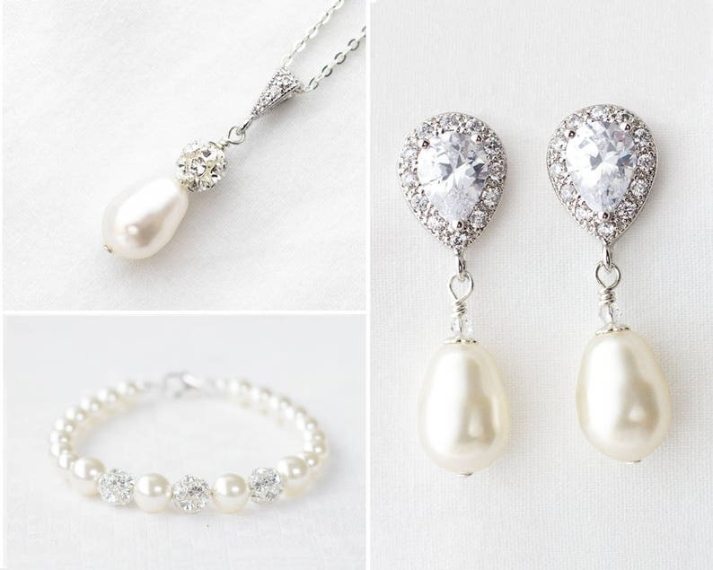 5a83fc6f3b162 Bridal Jewelry Set, Wedding Jewelry set for Brides, Pearl Bridal Earrings  and Bracelet,Bridal Necklace and Earring set,Pearl Wedding Jewelry