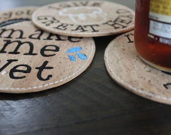 Cork Coaster, Coaster, Cheeky, Beer Coaster, Craft Beer, Hipster, Dad gift, Boyfriend Gift, Husband Gift, Beer Gift, Brewery, Craft Brewery