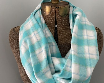 Infinity Scarf with Hidden Pocket, Scarf, Infinity, Pocket Scarf, Plaid Scarf, blue plaid, mammoth flannel