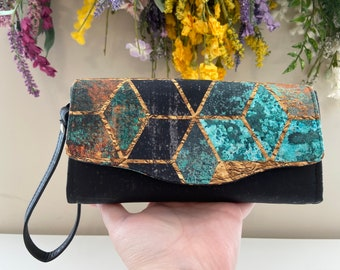 Cork Clutch Wallet, NCW, women's clutch, large wallet, wristlet wallet, accordion wallet, emmaline bags, NCW, vegan wallet, vegan leather