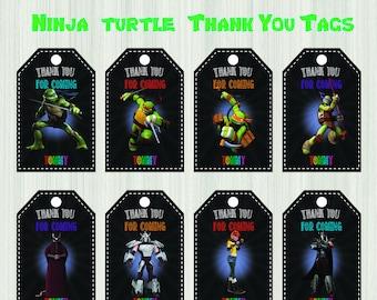 Ninja Turtles Thank you Card, Ninja Turtles gift tags, Ninja Turtles thank you tags, Ninja Turtles birthday, Ninja Turtles party