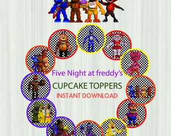 FNAF cupcake toppers, Five Nights at Freddy's cupcake toppers, fnaf, cupcake toppers, five nights, cupcake, fnaf party, cake toppers,toppers