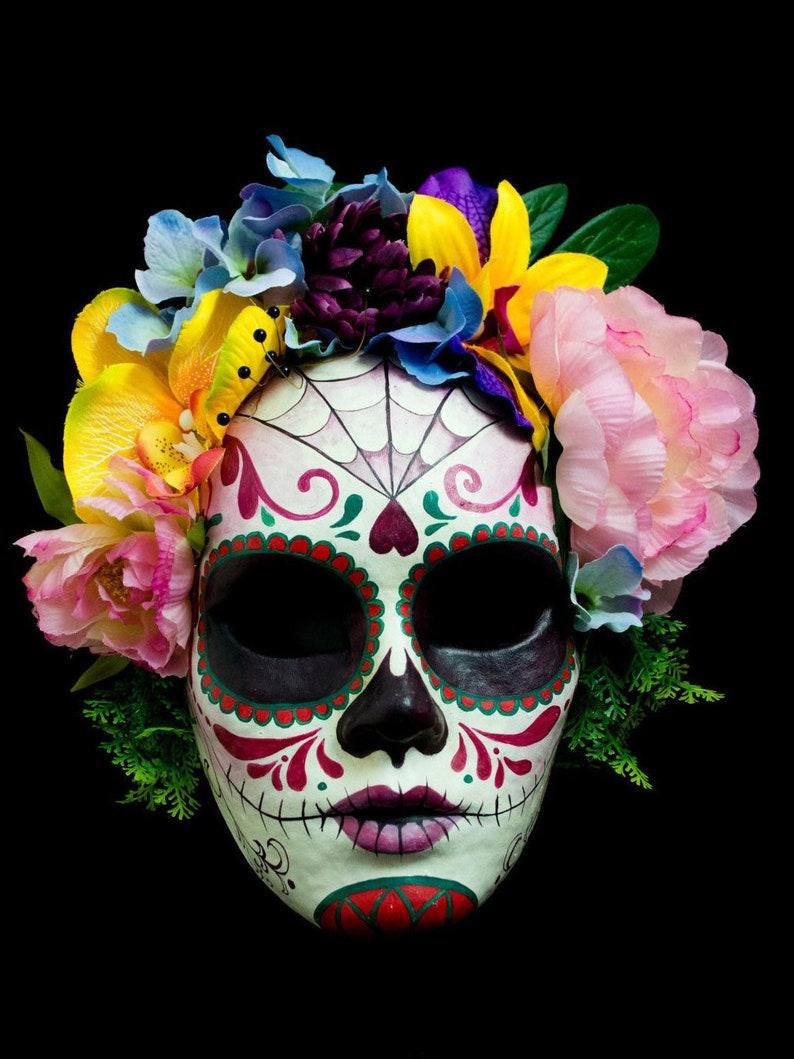 dbea90e1c3f Catrina mask made to order, dia de los muertos decor, coco costume, frida  kahlo costume, masquerade mask woman, paper mache mask