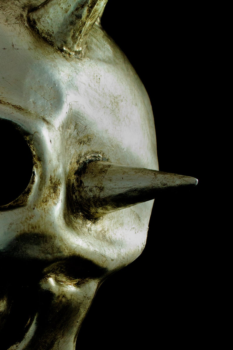 Masquerade Mask Man Skull Steampunk Costume Eyes With Shut Hand Made Paper Mache Scary Costume Accesory