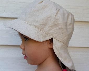 79d3d72aaf5 Adjustable Reversible Linen Unisex SunHat baby hat toddler sunhat baby legionnaire  hat kid legionnaire cap - natural and white