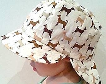 Adjustable Unisex Sun Hat, baby hat, toddler hat, baby sunhat, toddler sunhat, baby legionnaire hat, kid legionnaire cap - Cute Doggies