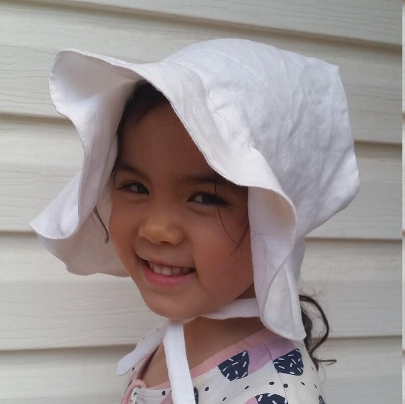 white  linen Linen Ruffle-brimmed Adjustable Sun Bonnet baby bonnet toddler bonnet sunhat baby bonnet baby hat easter bonnet beach hat