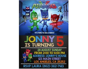 Pj Masks Invitation Birthday Party Printable PJ Mask Personalized