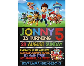 Paw Patrol Invitation Birthday Party Invite Printable File