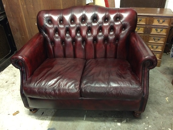 Fine Gorgeous Hand Dyed Vintage Thomas Lloyd 2 Seat Oxblood Leather Chesterfield Sofa Cjindustries Chair Design For Home Cjindustriesco