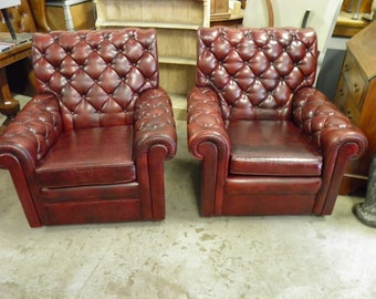 Pair Vintage Oxblood Red Faux Leather Chesterfield Club Armchairs