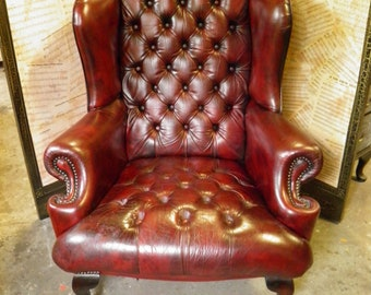Vintage Oxblood Leather Chesterfield High Back Wing Armchair