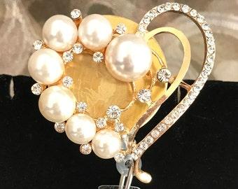 Gold & Pearl Heart Badge Reel