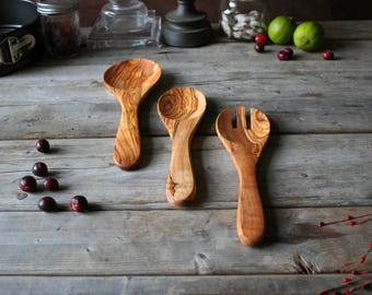 wooden spoon, wooden utensils set, wooden set, wood spoon, olive wood, christmas gift, gift for her, gift for him, utensils set,