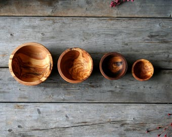 Personalized wooden bowl, wood bowl, sauce bowl, set of bowls, olive wood, christmas gift, birthday gift, gift for her, gift for him, gift
