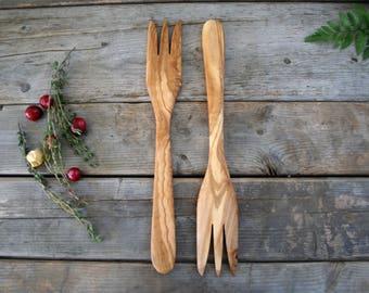 Set of wooden forks  , wooden utensils ,  wooden Utensil set , Gift for him , gift for her , wedding gift , christmas gift