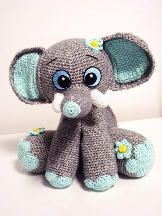 Crochet Pattern Elephant Happy Amigurumi Pdf Cute Grey Mint Etsy