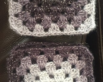 Beautiful black and grey sparkly crocheted granny squares.