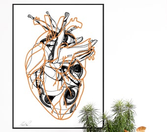 LOVE. Wall art. Art print. High quality giclée print. Signed by designer. Illustration. A2
