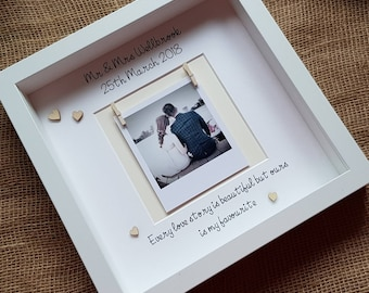 Personalised wedding photo frame, Wedding gift, valentines gift, newlywed gift
