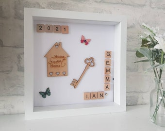 Personalised Home sweet home frame, new home gift, moving home, new family gift