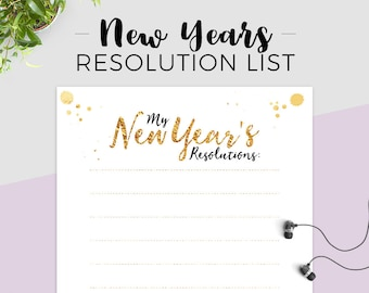 2018 New Year's Resolution List Printable. A4 size, Instant Download, Goals, Self-improvement. Gift ideas, Goal Planner, Habit