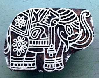 Wooden block print/hand block print/ELEPHANT/6.5X5 cm/wooden stamp/handcrafted/hand carved/textile/paper/scrapbooking/stationery/INDIA