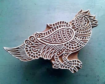 Wooden block print/hand block print/Stylised BIRD/wooden stamp/handcrafted/hand carved/textile/paper/scrapbooking/stationery/Crafts/INDIA