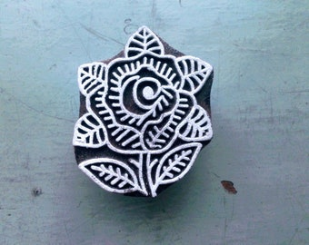 Wooden block print/hand block print/INDIAN FLOWER/6.5X5.5cm/wooden stamp/handcrafted/hand carved/textile/paper/scrapbooking/stationery/INDIA
