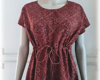 44d542797c3fc6 Roest Terracotta katoenen jurk India Hand blok gedrukt Ajrakh  afdrukken S M vrije grootte Boheme minimalistische Gypsy zwangerschap jurk gratis  verzending