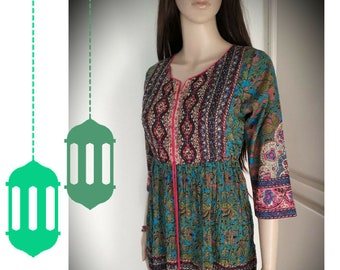 VINTAGE Crinkled Dress/India/Cotton/Small/Sequins/Beads/Flower prints/Green/Pink/Teal/Turquoise/Boheme/Gypsy/Hippie/Boho/Maternity dress/70'
