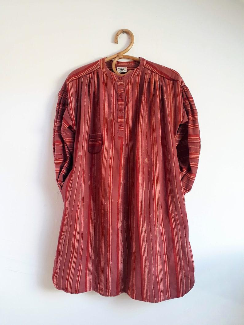 Anokhi Vintage 70/' Tunic Kurta Shirt Dress Maternity Tick cotton Hand block printed Striped Medium size Old Rose Burgundy India Mid season