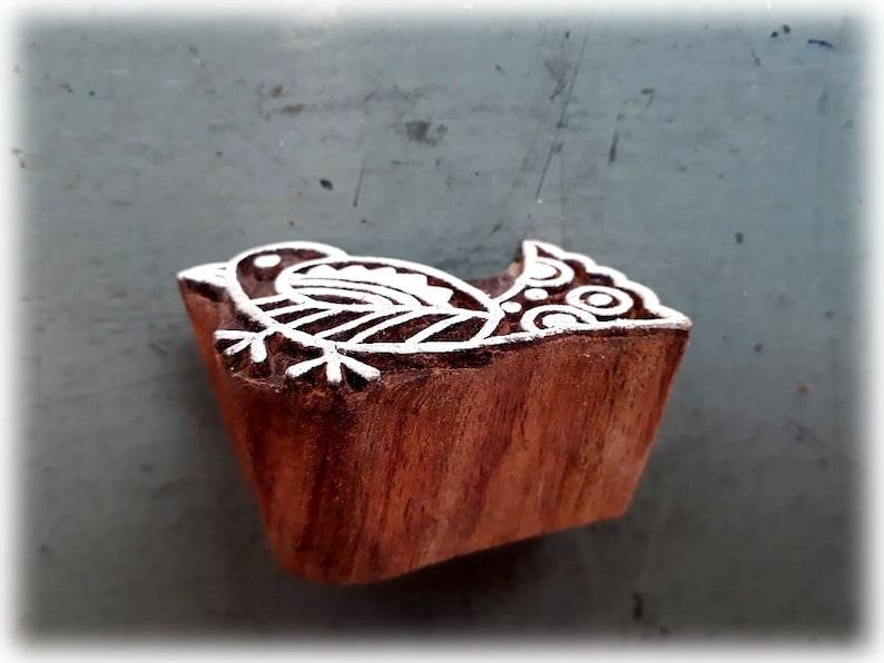 Wooden block printhand block printBIRD5 X 3.5 cmSmall birdwooden stamphand carvedHand craftedFabrictextilepaperscrapbookingINDIA