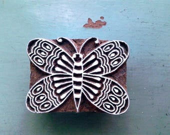 Wooden block print/hand block print/BUTTERFLY/7X5 cm/wooden stamp/handcrafted/hand carved/textile/paper/scrapbooking/stationery/Crafts/INDIA