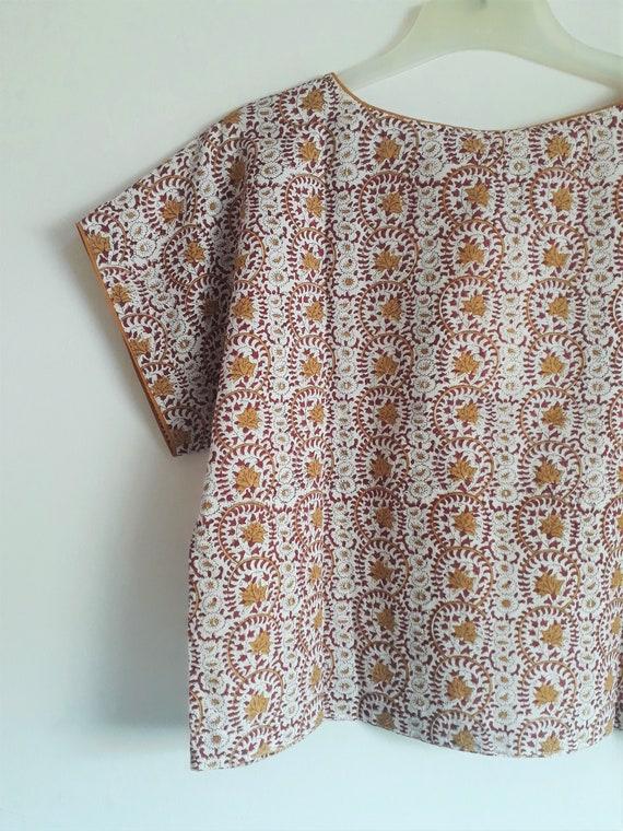 Turquoise Green Pink cotton Top,blouse,short kaftan,India,Hand block print,flowers,Boheme,gypsy,Tunic,crop top,minimalist,Free size SML