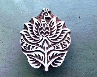 Wooden block print/hand block print/PEACOCK/LOTUS/7X5.5cm/wooden stamp/handcrafted/hand carved/textile/paper/scrapbooking/stationery/INDIA