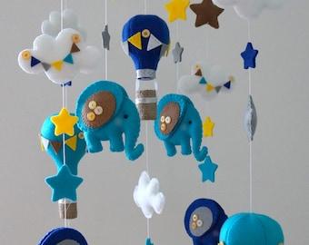 Babymobile, Heißluftballon Baby mobile, Luftballon Krippe mobil, Elefanten-Baby-Mobile, Elefant mobil, fühlte mobil, bebidekor