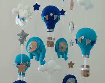 baby mobile, hot air balloon baby mobile, hot air balloon crib mobile, elephant baby mobile, elephant crib mobile, felt mobile, bebidekor